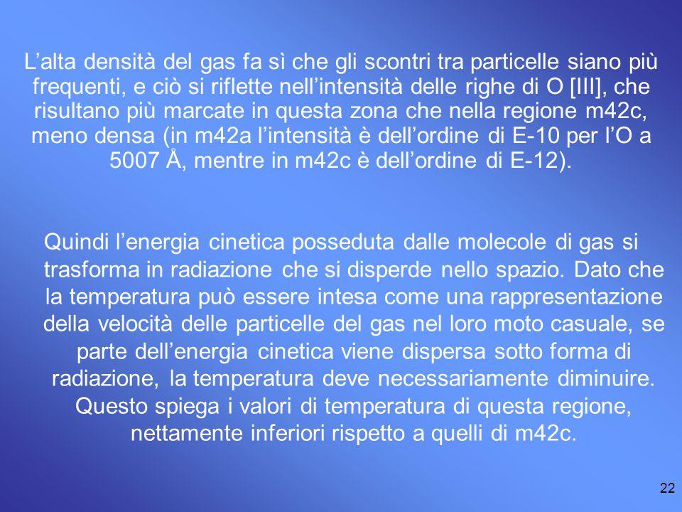 L'alta densità del gas fa sì che gli scontri tra particelle siano più frequenti, e ciò si riflette nell'intensità delle righe di O [III], che risultano più marcate in questa zona che nella regione m42c, meno densa (in m42a l'intensità è dell'ordine di E-10 per l'O a 5007 Å, mentre in m42c è dell'ordine di E-12).